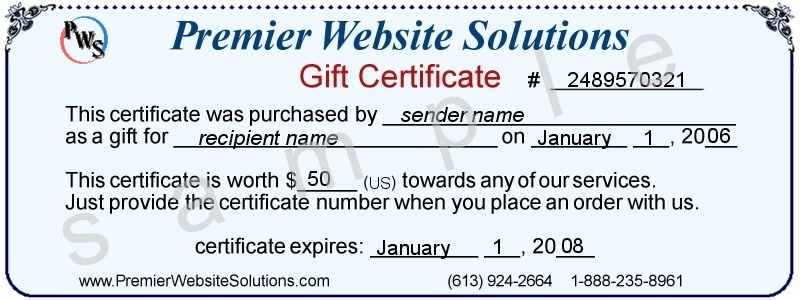 Sample Gift Certificate  Gift Certificate Samples